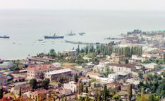 A general view of Sukhumi, Abkhazia and its bay, seen sometime around 1910 from Cherniavskii Mountain.