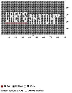GREY'S ANATOMY by JODON'S PLASTIC CANVAS CRAFTS