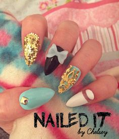 NAILED IT! - Hand painted false nails - Baby blue, gold and cut-out white! 3D bow, glitter, studs! by NailedItByChelsey on Etsy https://www.etsy.com/listing/229102949/nailed-it-hand-painted-false-nails-baby