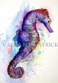 Seahorse image 3x4 inch print from original by valdasfineart