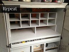 See how to turn an old entertainment center or computer desk into a functional and organized craft cabinet for your creative supplies. Under Cabinet Storage, Craft Storage Cabinets, Craft Cabinet, Sewing Cabinet, Storage Drawers, Craft Storage Ideas For Small Spaces, Corner Kitchen Pantry, Old Entertainment Centers, Craft Desk
