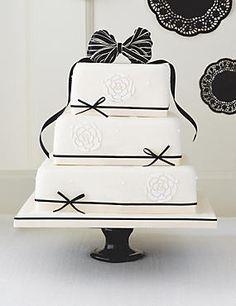 Black & Ivory Fruit Wedding Cake