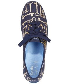 Keds Women's Limited Edition Taylor Swift Champion Key Print Sneakers-Cream,Gray,Navy,Turquoise -$55.00