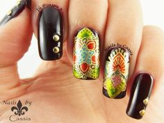 Nails by Cassis: More Experiment on Stamping Decals over Dark Base
