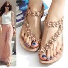 Women's Boho Flower Flat Shoe Sandal Thong Slipper Flip Flop Beach 6.5 US Size #Unbranded #FlipFlops #BeachCasual