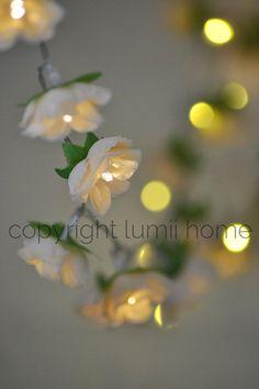 NEW! Antique cream Rose Flower Fairy string warm white LED Lights, bedroom decoration, wedding centerpiece, girl birthday gift vintage