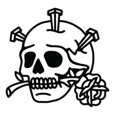 Perfect for band merchandise, clothing project and many more. 4 Tattoo, Doodle Tattoo, Tattoo Outline, Tatoo Art, Skull Tattoo Design, Tattoo Design Drawings, Tattoo Sketches, Traditional Tattoo Old School, Traditional Tattoo Art
