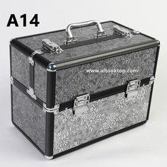Retro Abs+aluminum professional makeup organizer suitcase dressing case make up bag vanity cosmetic bag women makeup bag metal