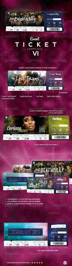 Event Ticket Template PSD. Download here: https://graphicriver.net/item/event-ticket-template-vi/8171314?ref=ksioks
