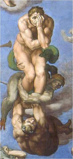 """Detail from Michelangelo's """"Last Judgement"""", Sistine Chapel, The Vatican. (via) Michelangelo died on today's date, Feb in at the age of Renaissance Kunst, Renaissance Paintings, High Renaissance, Caravaggio, Art Ninja, Michelangelo Paintings, Art Occidental, Italian Sculptors, Sistine Chapel"""
