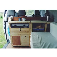 The campervan kitchen in our VW Transporter is really taking shape. Photo by Natalie Coe ( Helms Bear Bean) Day Van Conversion, Van Conversion Kitchen, Camper Conversion, T4 Camper, Mini Camper, Camper Caravan, Vw Bus, Vw Conversions, Campervan Interior