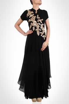 Aksh - When in doubt wear black! And it's even better with a dash of gold! This gorgeous black chiffon gown will save the day during those unplanned night outs. Intricate thread embroidery adorning the yoke gives it just the magic it needs. SHOP NOW: www.kimaya.in