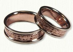 Mohan Claddagh Wedding Band - Mohan pattern alternates with Claddaghs. 14kt rose center/white rails