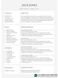 Highlights free CV template in MS Word - CV Template Master