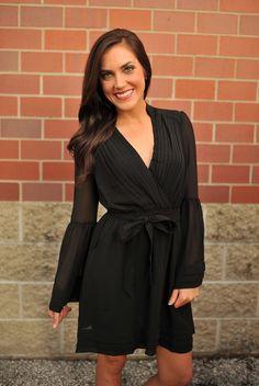 Dottie Couture Boutique - Bell Sleeve Dress- Black, $56.00 (http://www.dottiecouture.com/bell-sleeve-dress-black/)