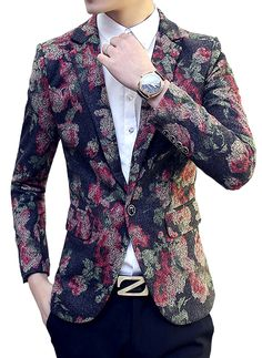 Brilliant Mens Floral Modern Blazer