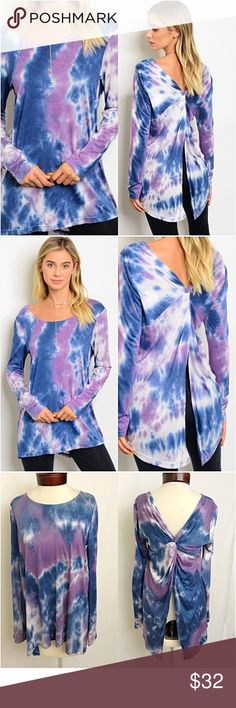 """Tie Dye With a Twist Tunic Top SM NEW Amazingly beautiful tie dye knotted back tunic top. Super soft, flowy & stretchy rayon.  Love the flattering fit with sexy back. Each pattern varies slightly.   Small Bust 32-34-36 Length 29"""" Med Bust 36-38 Length 29.5"""" Tops"""