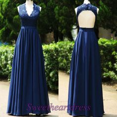 Modest prom dress, unqiue backless ball gown, elegant deep blue lace chiffon v-neck custom made evening dress, formal party dress for teens sweetheartdress.s... #coniefox #2016prom