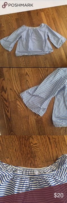 off the shoulder bell sleeve top in good condition blue and white striped top. Can be worn off the shoulder (as intended) or worn on the shoulder. Bell sleeves. Classic stripes. From a boutique Tops Blouses