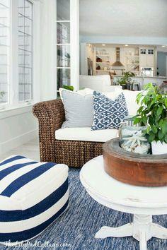 Rustic Beige Beach Cottage Living Room