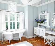 With beautiful tubs and furniture-style vanities, traditional bathrooms offer classical elegance. These traditional bathroom design ideas will help inspire your space. White Bathroom Decor, Diy Bathroom Vanity, Bathroom Colors, Bathroom Styling, Bathroom Furniture, Neutral Bathroom, Bathroom Cabinets, Bathroom Ideas, Guys Bathroom