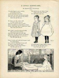 Vintage School Girl Clip Art Old Graphics Dillingham Poem Book