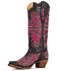 Women's Black- Pink Wing & Cross With Studs & Crystals Boot- A1049