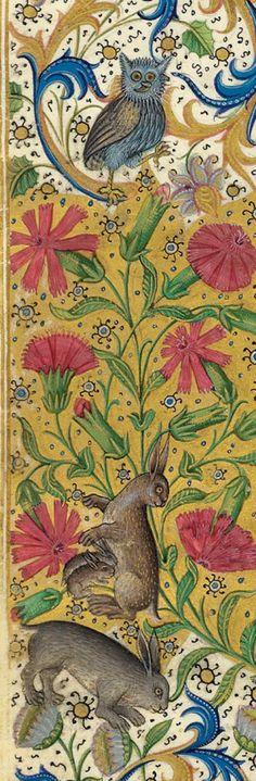 Conejos de la orla de la portada de la obra de Gaston Phoebus, Le Livre de la chasse, Paris ca. 1407.