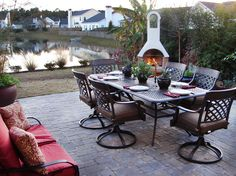 Many outdoor dining tables are abandoned during the fall and winter months as the weather gets cooler. The addition of this fireplace makes outdoor meals and entertaining an option all year round, no matter what the weather is.