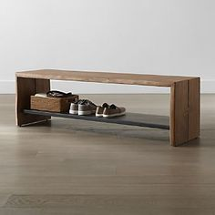 Shop Yukon Natural Entryway Bench with Shelf. Slabs of live-edge acacia wood shape a simple Parsons-style entryway bench that can also be used for extra seating or as a cocktail table. A black iron shelf offers sleek contrast as well as room for storage. Hallway Bench, Entryway Bench Storage, Entry Bench, Diy Bench, Entryway Furniture, Bench With Storage, New Furniture, Entryway Decor, Shoe Bench