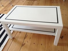 A Simple & Stylish DIY IKEA Coffee Table Upgrade — Apartment Therapy Reader Submission Tutorials Coffee Table Hacks, Ikea Lack Coffee Table, Simple Coffee Table, Ikea Table, Black Coffee Tables, Decorating Coffee Tables, Diy Table, Lack Table Hack, Painting Ikea Furniture