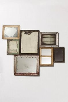 find old mirrors or use old picture frames and add mirror behind it. Glue together and voila! a mirror! or, purchase from anthropologie for Mirror Collage, Mirror Wall Art, Diy Mirror, Frame Mirrors, Hanging Mirrors, Gold Mirrors, Bedroom Mirrors, Mirror Shelves, Wall Tv