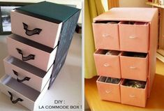 Ideas for recycling your shoe boxes and cartons Recycling, Carton Box, Cardboard Furniture, Diy Projects To Try, Shoe Box, Design Crafts, Organization Hacks, My Room, Filing Cabinet
