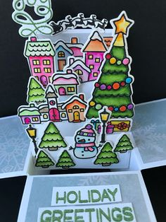 3D Christmas pop up box card 3d watercolor Christmas card