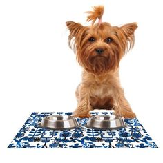 Kess InHouse Agnes Schugardt 'Dream' Blue White Feeding Mat for Pet Bowl, 24 by 15-Inch >>> For more information, visit now : Cat items