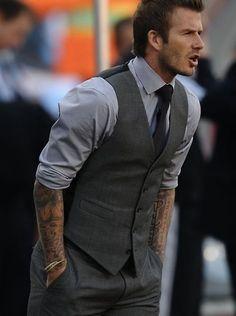 David Beckham wearing Grey Dress Shirt, Charcoal Vest, Charcoal Dress Pants, and Black Tie Sharp Dressed Man, Well Dressed Men, Style David Beckham, Man Look, Costume Gris, Charcoal Dress, Charcoal Suit, Grey Shirt Dress, Gray Shirt