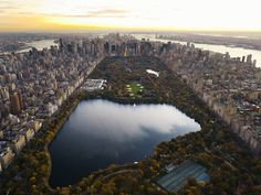 Aerial View of Central Park and Manhattan, New York