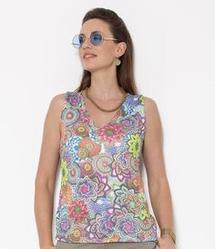 SALE, Floral Top, Colorful Shirt, Sleeveless Blouse, V neck Top, Summer Clothes for Women, Print Blouse, Floral Blouse, Floral Shirt