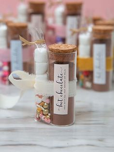 These are the most adorable hot chocolate favors ever! Hot Chocolate Favors, Hot Chocolate Mix, Chocolate Lovers, Unique Wedding Favors, Unique Weddings, Diy Wedding, Wedding Ideas, Fancy Sprinkles, Chocolate Powder