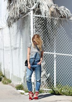 50 Outfits to Copy this Spring 2016 - Striped t-shirt, denim overalls, and lace-up red high heels