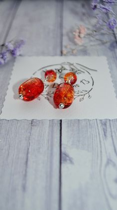 Excited to share the latest addition to my #etsy shop: Orange Crackle Glass Earrings Handmade - Dangle Drop Earrings - SURGICAL STEEL Wire - Crystal Earrings Orange - Coworker Gift for Birthday https://etsy.me/2GMJ4ud #jewelry #earrings #silver #orange #birthday #minim