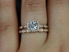 Love & Promise aquamarine and diamond rose gold wedding set