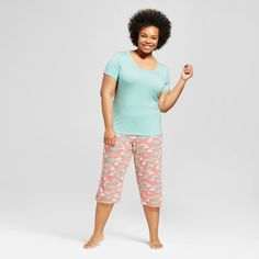 Sleepwear Tops with Capri Pants Casual and Fun Prints Pajama Sets Women/'s Pajama Set