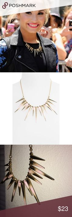 """🐡Spiked Necklace🐡 Spike necklace. Similar seen on Demi Lovato! Pale pink and gold. Can be dressed edgy or girly. Total length about 20.5"""" including 3"""" extender. No defects. #edge #spikes #punk #fashionista Topshop Jewelry Necklaces"""