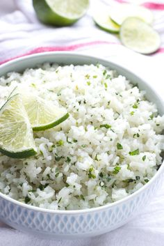 Yummy coconut lime white rice! Cooked in coconut milk and loaded with fresh cilantro and lime zest! Ultimate side to any meal