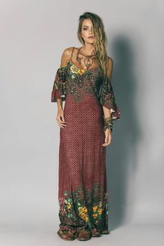 Fashion Tips For Teens Back To School Vestido Longo Estampado - Novidades Look Hippie Chic, Look Boho, Gypsy Style, Hippie Style, Bohemian Style, Boho Chic, Hippie Bohemian, Vintage Bohemian, White Bohemian