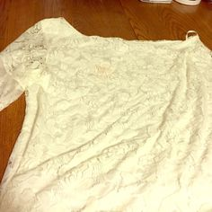 Women's plus size 3x one shoulder top Perfect for Christmas Eve!!! Women's plus lace one shoulder top. Lots of lace detail. Shirt was purchased from a western shop in Colorado. Beautiful top, I've just never worn it and want someone to get some use out of it! L&B Tops Blouses