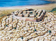 Drawing reconstruction of Troy in its sixth phase, with the citadel (acropolis) surrounded by a lower town, equipped with defensive walls.