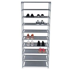 Keep up to 30 pairs of shoes neatly stored with this Home Basics 10-Tier Shoe Rack. Durable coated plastic design with 10 non-woven fabric shelves keeps footwear organized and in easy reach. A removable layer allows fitting taller shoes and boots.