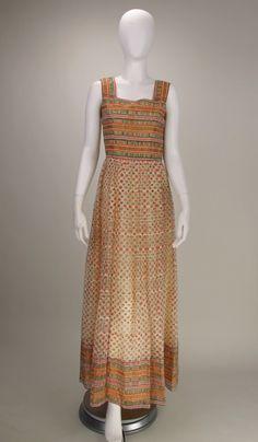 973d51990181 1960s fine silk gauze print gown India India